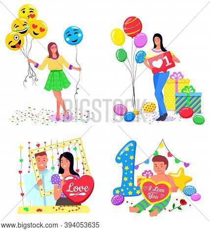 People Taking Photos With Inflatable Balloons Vector, Isolated Set Of Characters Flat Style. Woman W