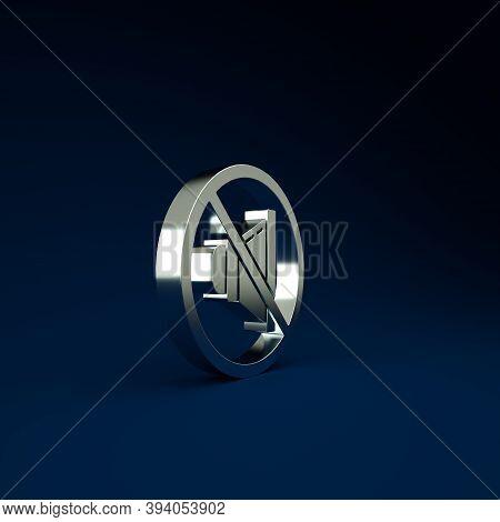 Silver Speaker Mute Icon Isolated On Blue Background. No Sound Icon. Volume Off Symbol. Minimalism C