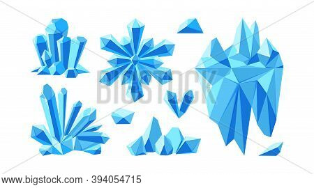 Iceberg With Crystals And Snowflake For Arctic Landscapes. Set Of Crystal Gems And Stones For Game D