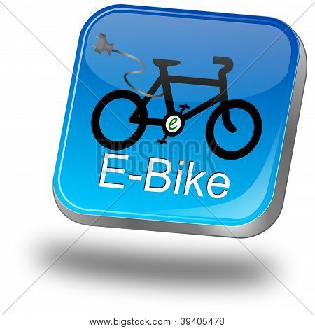 glossy blue e-bike button on white background poster