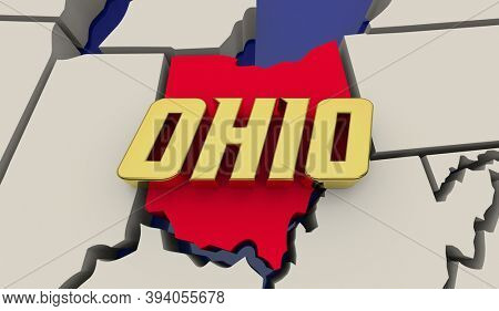 Ohio State Map United States America USA Buckeye Render 3d Illustration