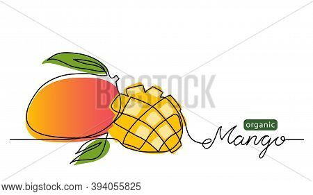 Mango Vector Illustration. One Line Drawing Art Color Illustration With Lettering Organic Mango.