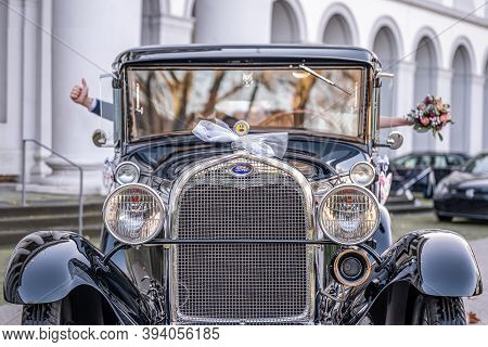 Koblenz Germany 12.12.2019 Wedding Couple In Oldtimer Ford Typ A Tudor Sedan 1928 During A Wedding D
