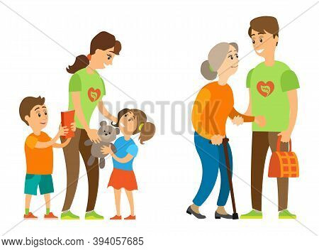 Man Helping Grandmother, Woman Caring To Orphan, Full Length And Portrait View Of Smiling Volunteers