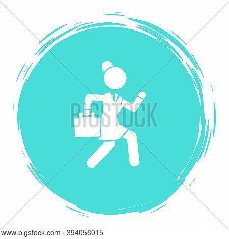 Businesswoman Running In A Hurry Holding Briefcase Vector Illustration, Business Woman Rushing Late