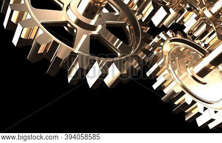 3D illustration of shiny steel gears isolated on black background
