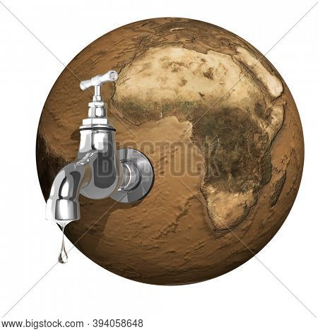 Water dripping from an open tap attached to a dried planet Earth. 3D illustration Isolated on white background.