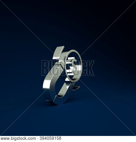 Silver Magnet With Money Icon Isolated On Blue Background. Concept Of Attracting Investments. Big Bu