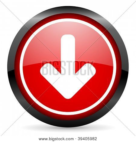 arrow down round red glossy icon on white background