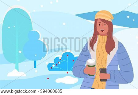 Female Character Walking In Winter Park Or Forest Holding Cups With Coffee Or Hot Tea. Lady Drinking