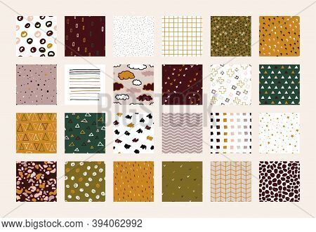 Set Of 24 Scandinavian Doodle Abstract Seamless Vector Patterns. Nude Colors Cozy Ornaments Collecti