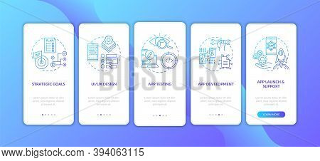 Mobile App Development Process Onboarding Mobile App Page Screen With Concepts. App Development Walk