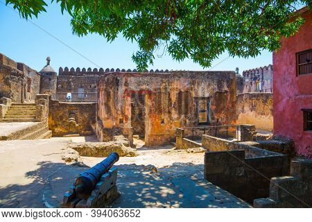 Fort Jesus -  medieval fortification in Mombasa, Kenya. Corner bastion. Loopholes in the thick ancient walls. UNESCO listed Fort as World Heritage Site.