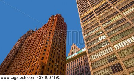 Detroit, MI- November 7,2020:  Tall historic buildings in Detroit downtown, city has substantial activity in urban design, historic preservation, and architecture.