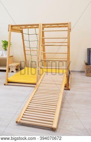Montessori wood stairs for the learning of children at children school