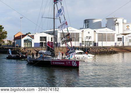 Les Sables D'olonne, France - November 08, 2020: Alexia Barrier Boat (tse - 4myplanet) In The Channe