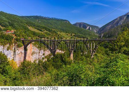 Bridge Durdevica in River Tara canyon - Montenegro - travel background