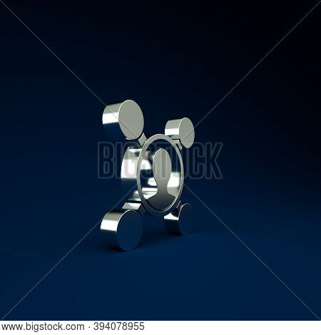 Silver Share Icon Isolated On Blue Background. Sharing, Communication Pictogram, Social Media, Conne
