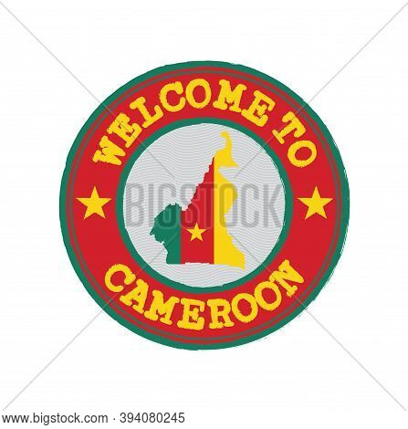 Vector Stamp Of Welcome To Cameroon With Map Outline Of The Nation In Center. Grunge Rubber Texture