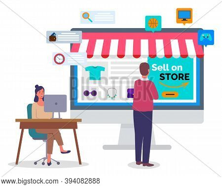 Online Shopping Concept On Computer Desk Vector Flat Illustration. People Buyer And Manager In Offic