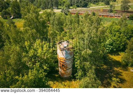 Belarus. Aerial View Of Ruined Water Tower In Chernobyl Zone. Chornobyl Catastrophe Disasters. Dilap