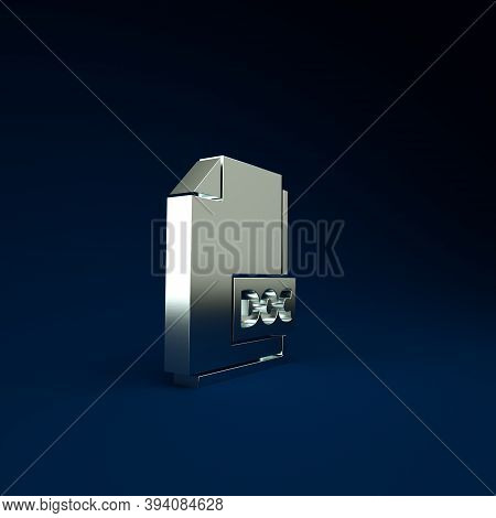 Silver Doc File Document. Download Doc Button Icon Isolated On Blue Background. Doc File Extension S