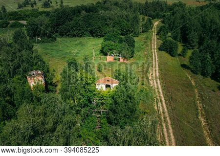 Belarus. Aerial View Of Ruined Cowshed In Chernobyl Zone. Chornobyl Catastrophe Disasters. Dilapidat