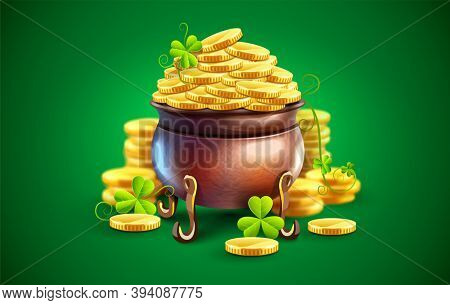 Pot with gold coins for Saint Patricks Day Holiday. Hidden treasures from Irish traditions. Green leaves of clover plant. 3D illustration.