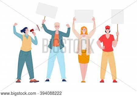 People On Demonstration, Vector Flat Illustration. Cartoon Men And Women On Working Strike Protest W