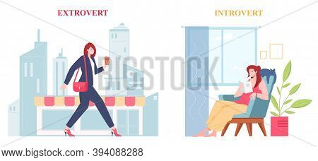 Introvert And Extrovert Individuality Of People, Comparison Of Psychological Types. Extroversion Car