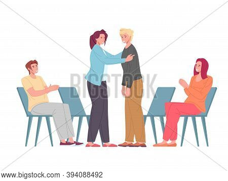 Psychological Support, People At Psychotherapeutic Meeting, Group Therapy Session. Men And Women Sit