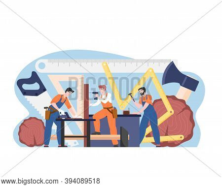 Carpenters Male Team Workers In Uniform, Vector Cartoon Characters With Instruments In Workshop. Guy
