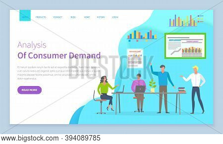 Analysis Of Consumer Demand Website Vector. Workers With Laptop Discuss Statistical Indicators, Anal
