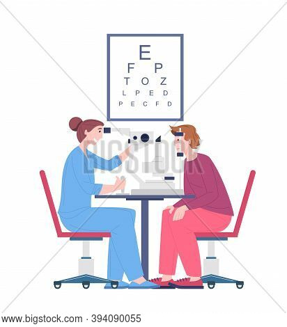 Ophthalmologist Doctor Examining Eyesight Vision Of Patient, Vector Cartoon Character Oculist Checku