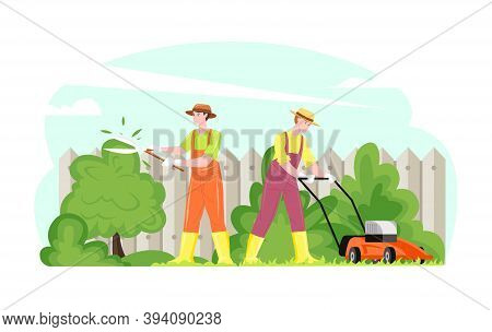 Gardening Working People Mowing Grass Trimming Shrubbery, Vector Illustration. Male Female Cartoon C