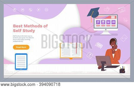 Self Study Concept Banner. Distance Online Learning With Teacher. Girl Using A Computer And Headphon