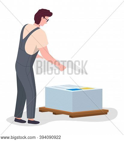 Print House Worker Male Character Stacks Big Printed Sheets Of Paper On Pallet Vector Isolated Illus
