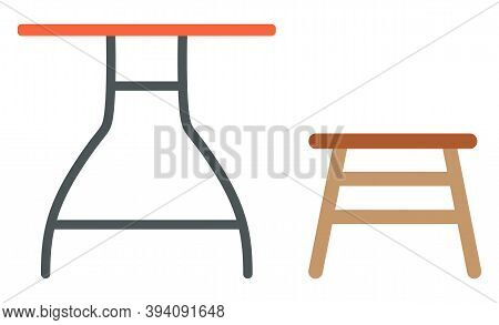 Old Furniture, Garage Sale And Second Hand Goods Selling Vector. Table And Stool, Cheap Price Shoppi