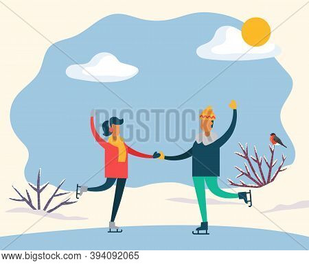 Man And Woman Holding Each Other Hands And Skating On Rink. Couple On Date Spend Leisure Time Togeth