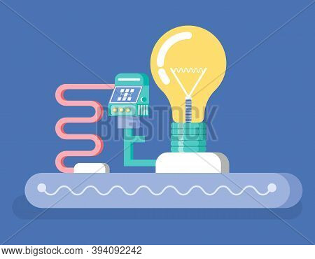 Invention Vector, Isolated Project Consisting Of Lightbulb And Tubes, Monitor For Controlling Proces