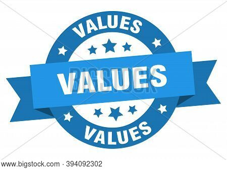 Values Round Ribbon Isolated Label. Values Sign