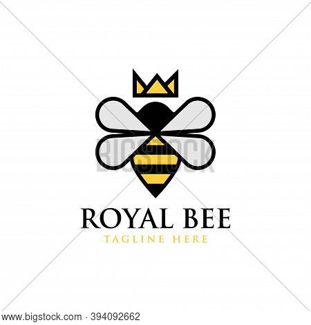 Royal Bee Logo. Bee Honey Graphic Design Template Vector Illustration