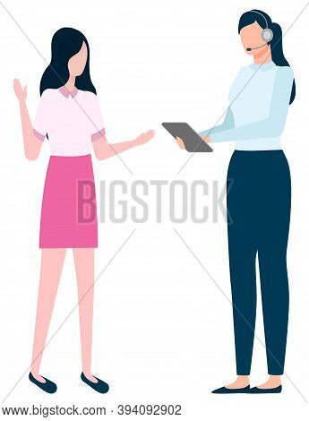 Business Talk Of People Vector, Isolated Employee Boss And Employer. Woman With Notepad, Tablet And