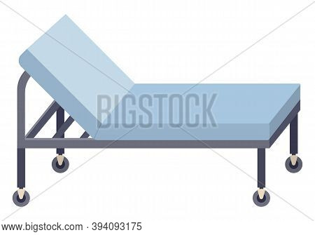 Medical Couch Vector Illustration. Special Bed On Wheels For Patients In Hospital Isolated On White