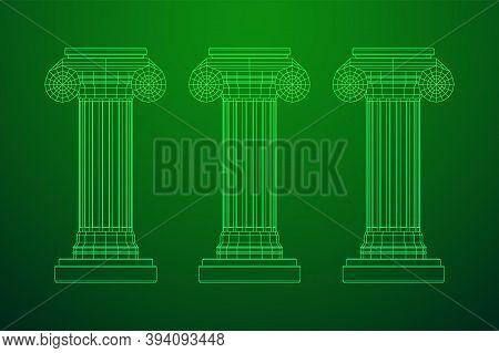 Greek Ionic Column. Ancient Pillars Roman Antique Architecture Construction Decoration. Wireframe Lo