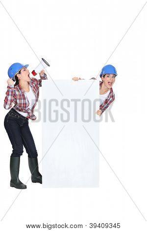 female worker using a megaphone