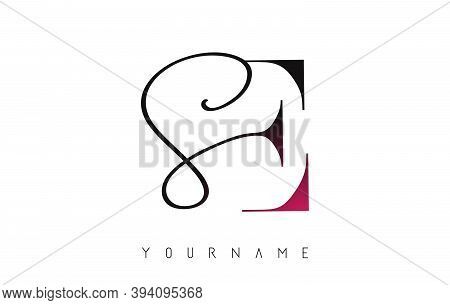 Handwritten Se S E Letters Logo With Pink Color Touch Concept Design.
