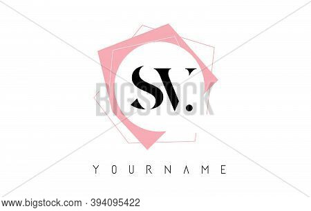 Geometric Sv S V Letters With Pastel Pink Color Logo Design With Circle And Rectangular Shapes Vecto