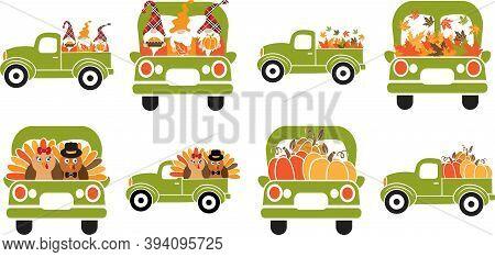 Set Of Cartoon Thankful Trucks. Green Thankful Trucks