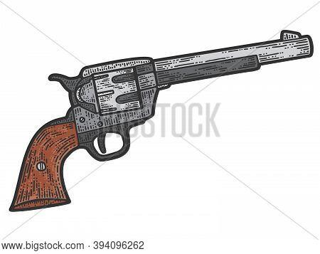 Colt Revolver, Cowboy Gun. Apparel Print Design. Color Hand Drawn Image.